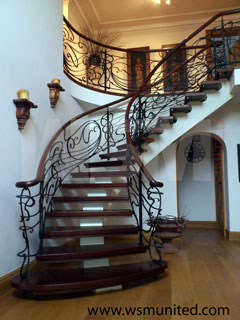 Elegant Freestanding Bespoke Stairs, Contemporary Curved Staircases   WSMU  Ltd   Curved Stairs. Page 1.