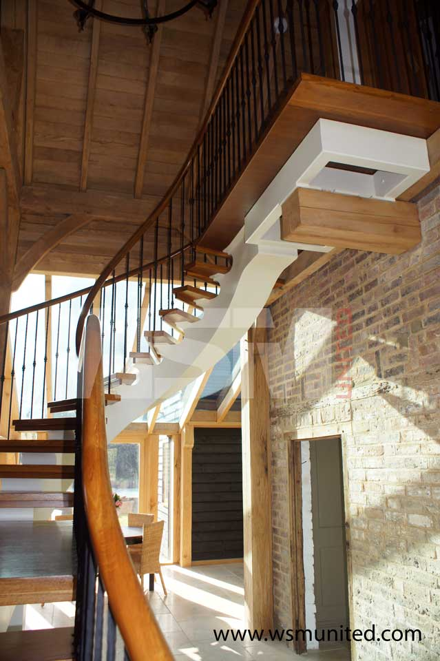 Bespoke freestanding curved staircase wsmu ltd curved for Curved staircase
