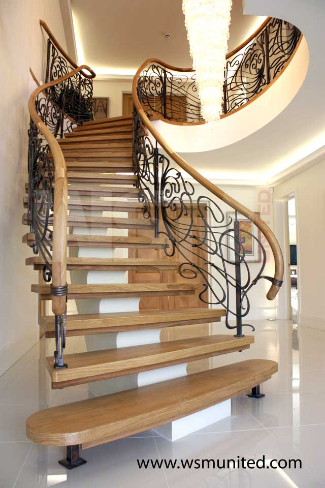 Bespoke freestanding curved staircase wsmu ltd curved for Curved stair case