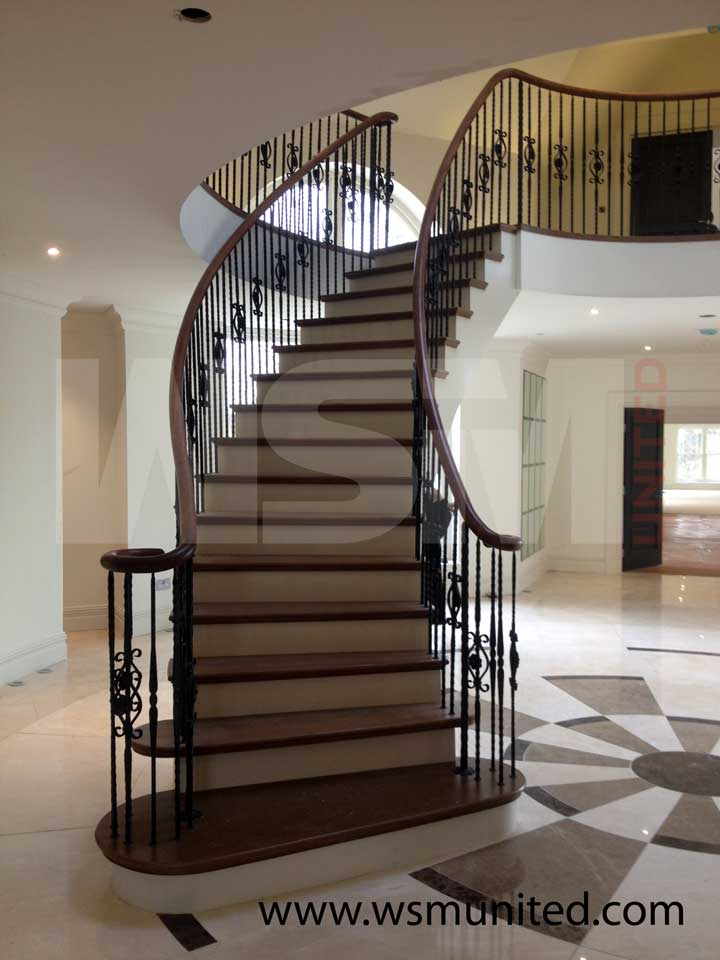 Elegant contemporary curved staircases wsmu ltd for Curved stair case