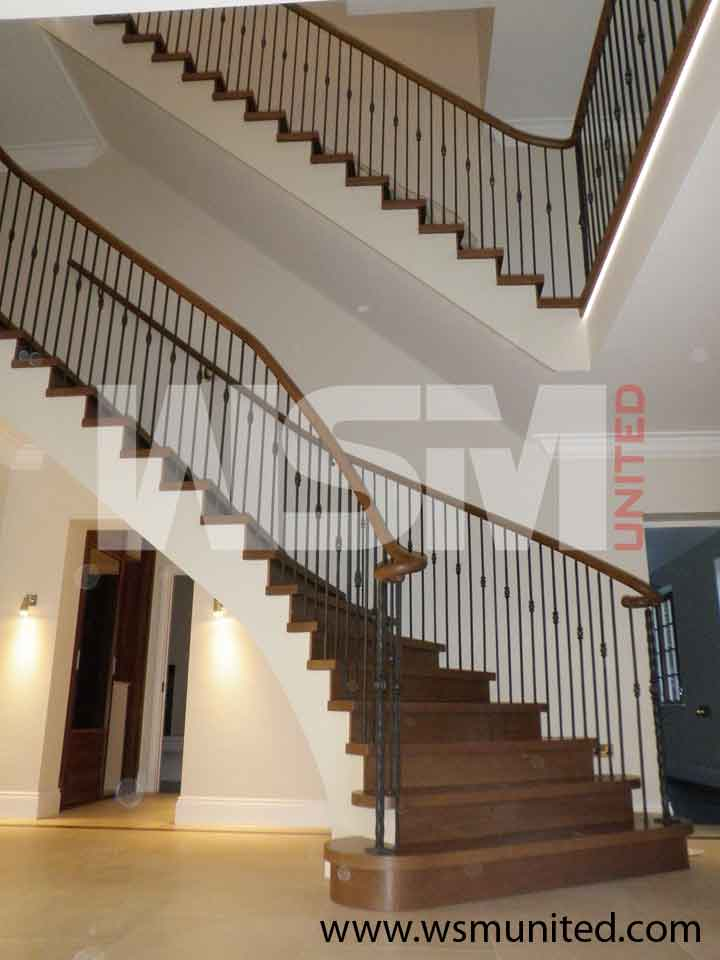 Attractive two side support bespoke curved staircase for Arched staircase
